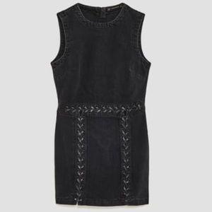 Zara denim black mini dress 👗😍 NWT